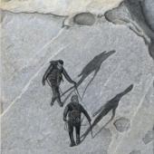 Bergsteiger Steinbild